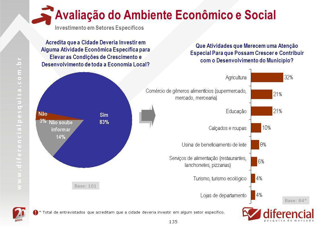 135 Avaliação do Ambiente Econômico e Social Investimento em Setores Específicos Acredita que a Cidade Deveria Investir em Alguma Atividade Econômica