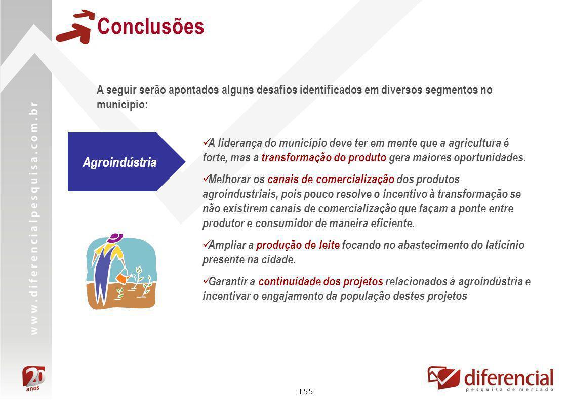 155 Conclusões A liderança do município deve ter em mente que a agricultura é forte, mas a transformação do produto gera maiores oportunidades. Melhor