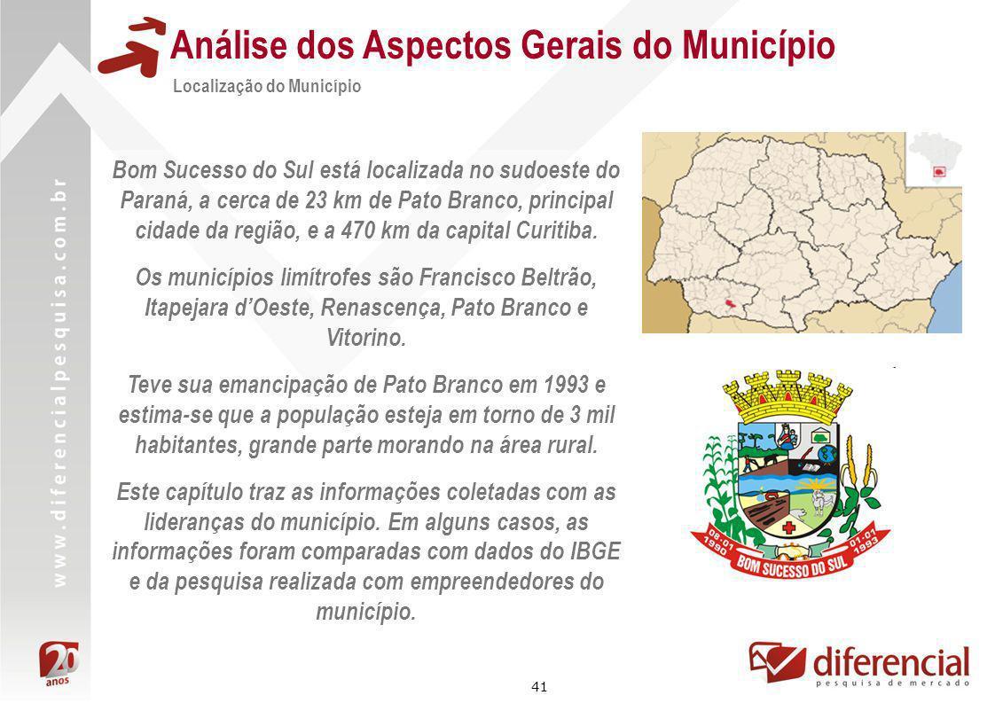 41 Análise dos Aspectos Gerais do Município Localização do Município Bom Sucesso do Sul está localizada no sudoeste do Paraná, a cerca de 23 km de Pat