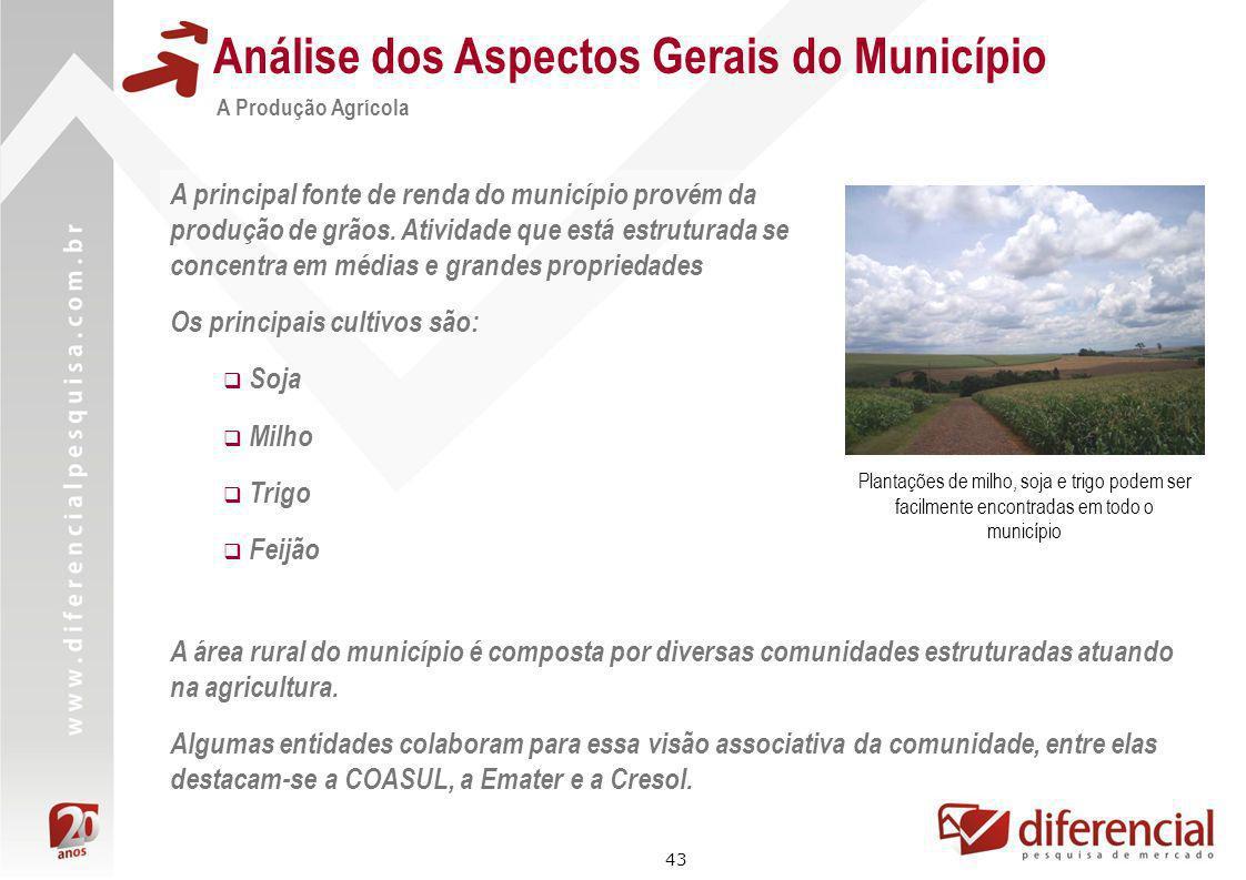 43 Análise dos Aspectos Gerais do Município A Produção Agrícola A principal fonte de renda do município provém da produção de grãos. Atividade que est
