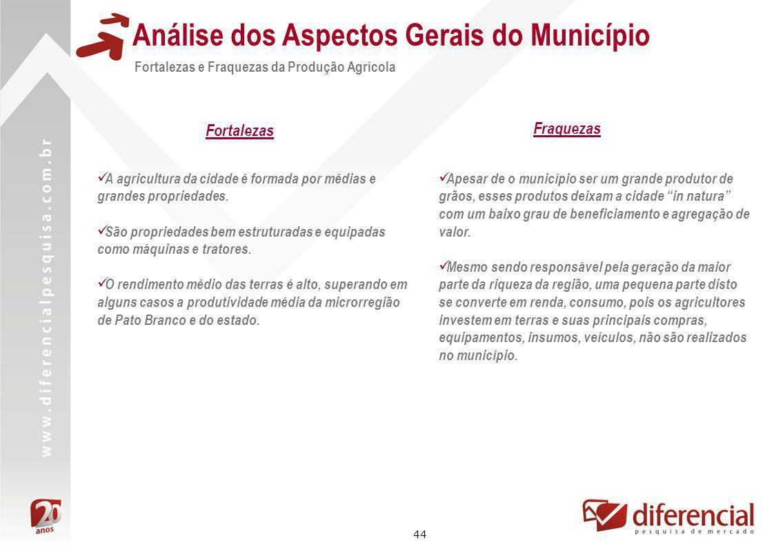 44 Análise dos Aspectos Gerais do Município A agricultura da cidade é formada por médias e grandes propriedades. São propriedades bem estruturadas e e