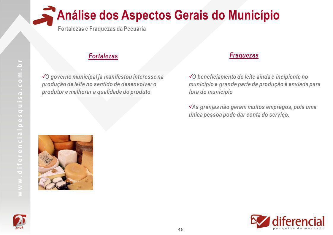 46 Análise dos Aspectos Gerais do Município O governo municipal já manifestou interesse na produção de leite no sentido de desenvolver o produtor e me