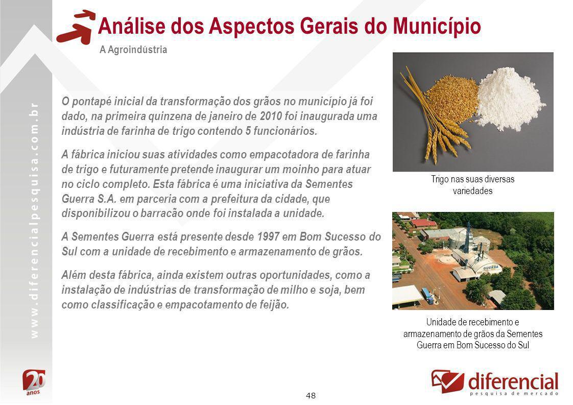 48 Análise dos Aspectos Gerais do Município A Agroindústria O pontapé inicial da transformação dos grãos no município já foi dado, na primeira quinzen