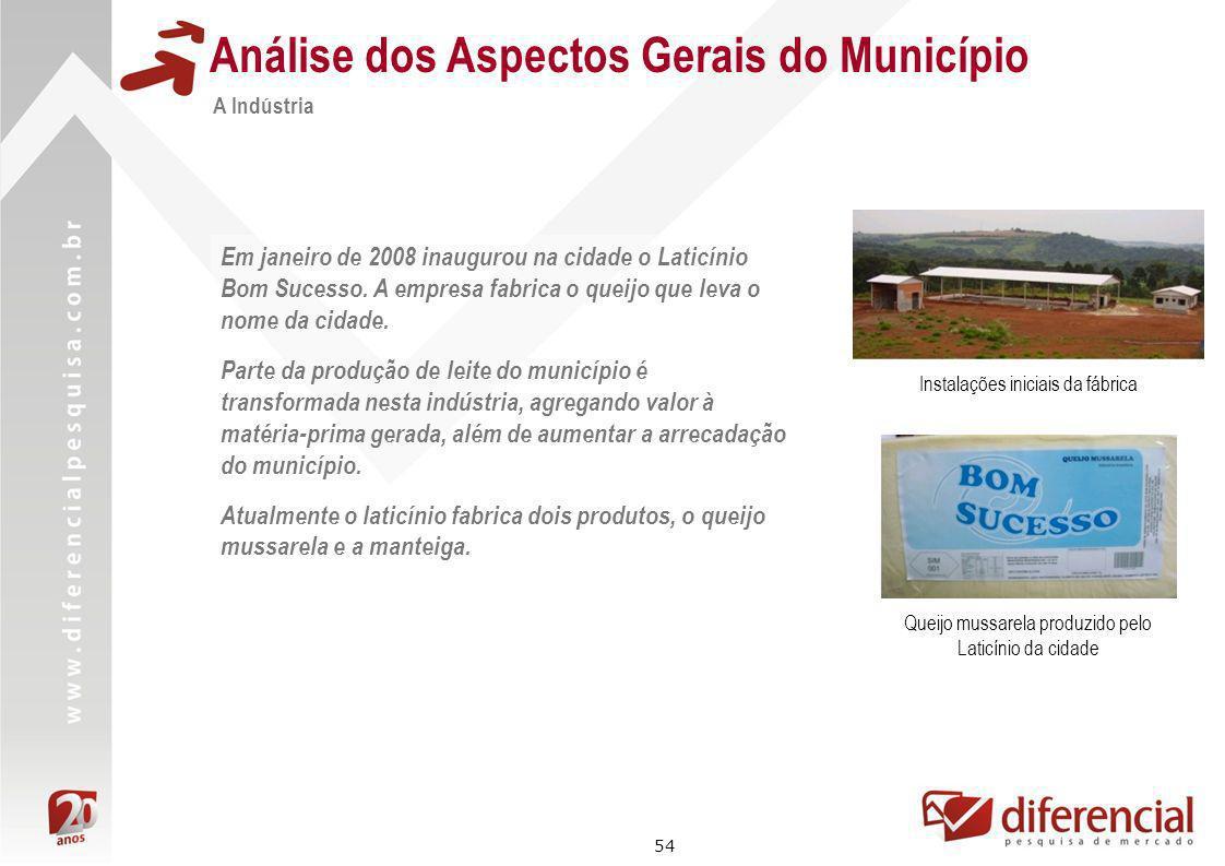 54 Análise dos Aspectos Gerais do Município A Indústria Em janeiro de 2008 inaugurou na cidade o Laticínio Bom Sucesso. A empresa fabrica o queijo que