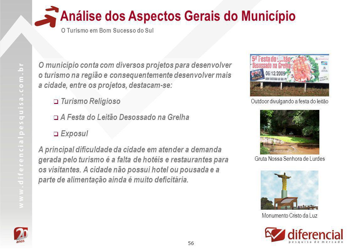 56 Análise dos Aspectos Gerais do Município O Turismo em Bom Sucesso do Sul O município conta com diversos projetos para desenvolver o turismo na regi