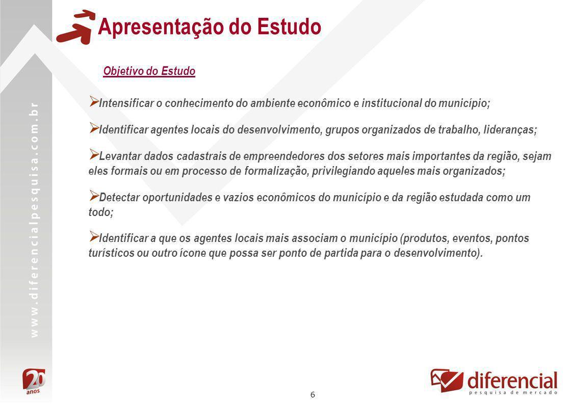 6 Apresentação do Estudo Objetivo do Estudo Intensificar o conhecimento do ambiente econômico e institucional do município; Identificar agentes locais