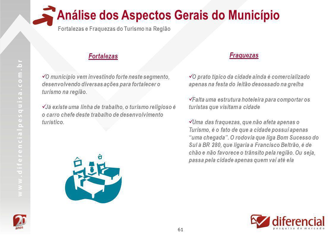 61 Análise dos Aspectos Gerais do Município Fortalezas e Fraquezas do Turismo na Região O município vem investindo forte neste segmento, desenvolvendo