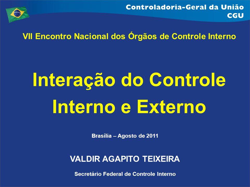 Brasília – Agosto de 2011 VALDIR AGAPITO TEIXEIRA Secretário Federal de Controle Interno VII Encontro Nacional dos Órgãos de Controle Interno Interaçã