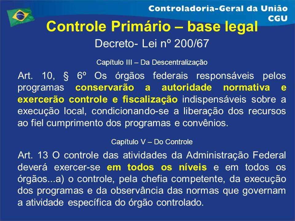 Controle Primário – base legal Decreto- Lei nº 200/67 Capítulo III – Da Descentralização Art. 10, § 6º Os órgãos federais responsáveis pelos programas