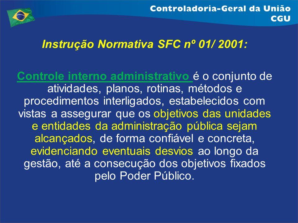 Instrução Normativa SFC nº 01/ 2001: Controle interno administrativo é o conjunto de atividades, planos, rotinas, métodos e procedimentos interligados