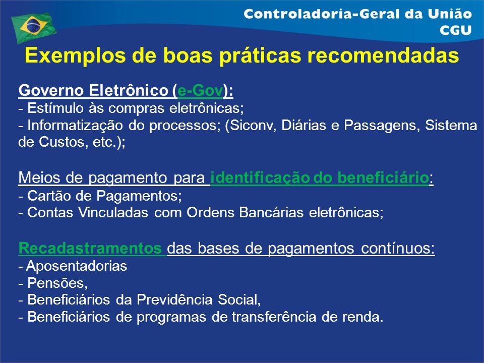 Exemplos de boas práticas recomendadas Governo Eletrônico (e-Gov): - Estímulo às compras eletrônicas; - Informatização do processos; (Siconv, Diárias