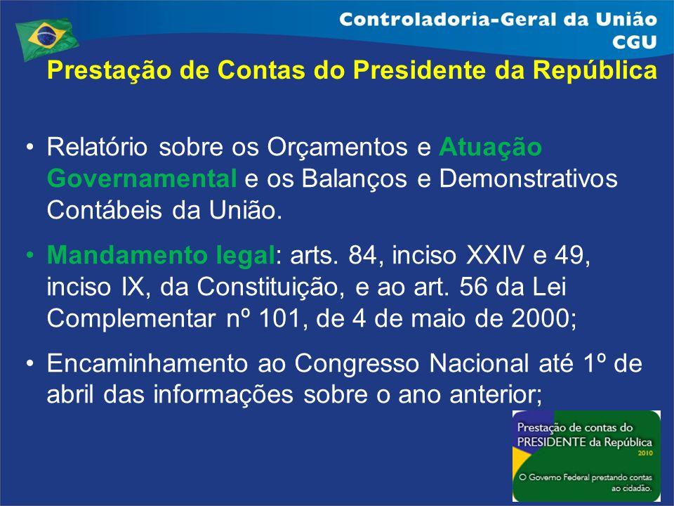 Prestação de Contas do Presidente da República Relatório sobre os Orçamentos e Atuação Governamental e os Balanços e Demonstrativos Contábeis da União