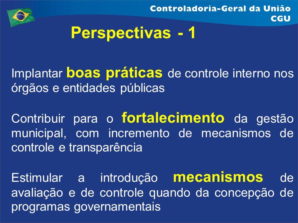 Perspectivas - 1 Implantar boas práticas de controle interno nos órgãos e entidades públicas Contribuir para o fortalecimento da gestão municipal, com