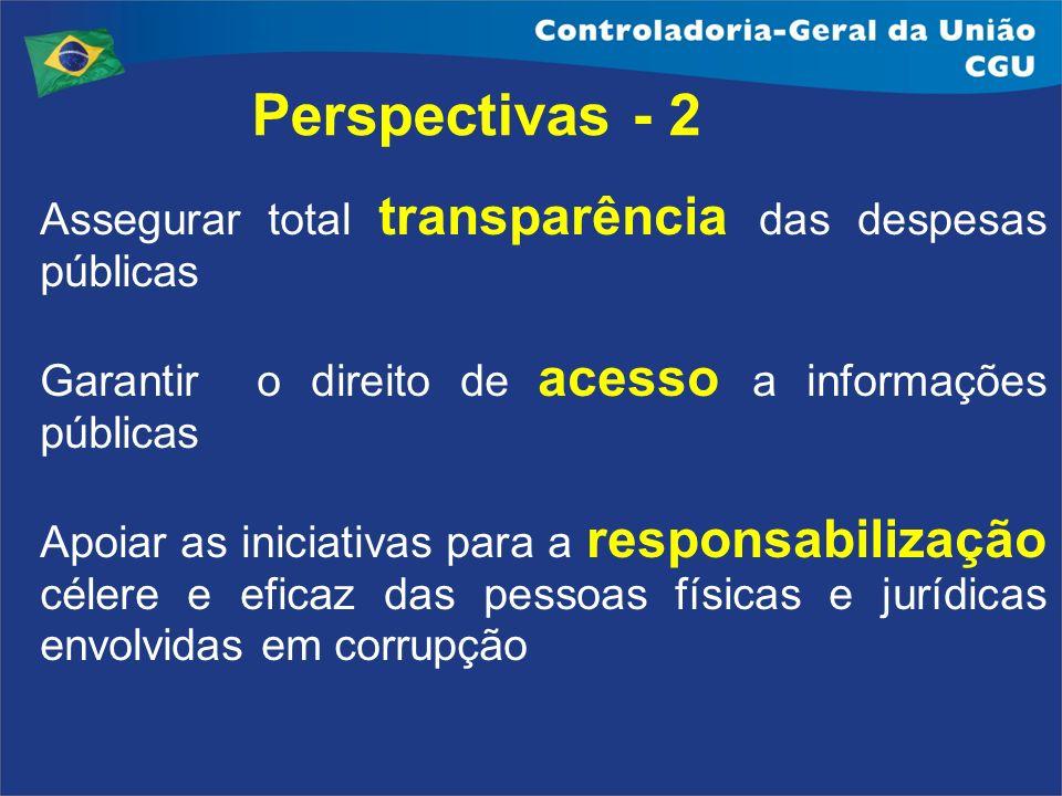 Perspectivas - 2 Assegurar total transparência das despesas públicas Garantir o direito de acesso a informações públicas Apoiar as iniciativas para a