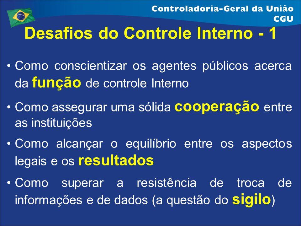 Desafios do Controle Interno - 1 Como conscientizar os agentes públicos acerca da função de controle Interno Como assegurar uma sólida cooperação entr