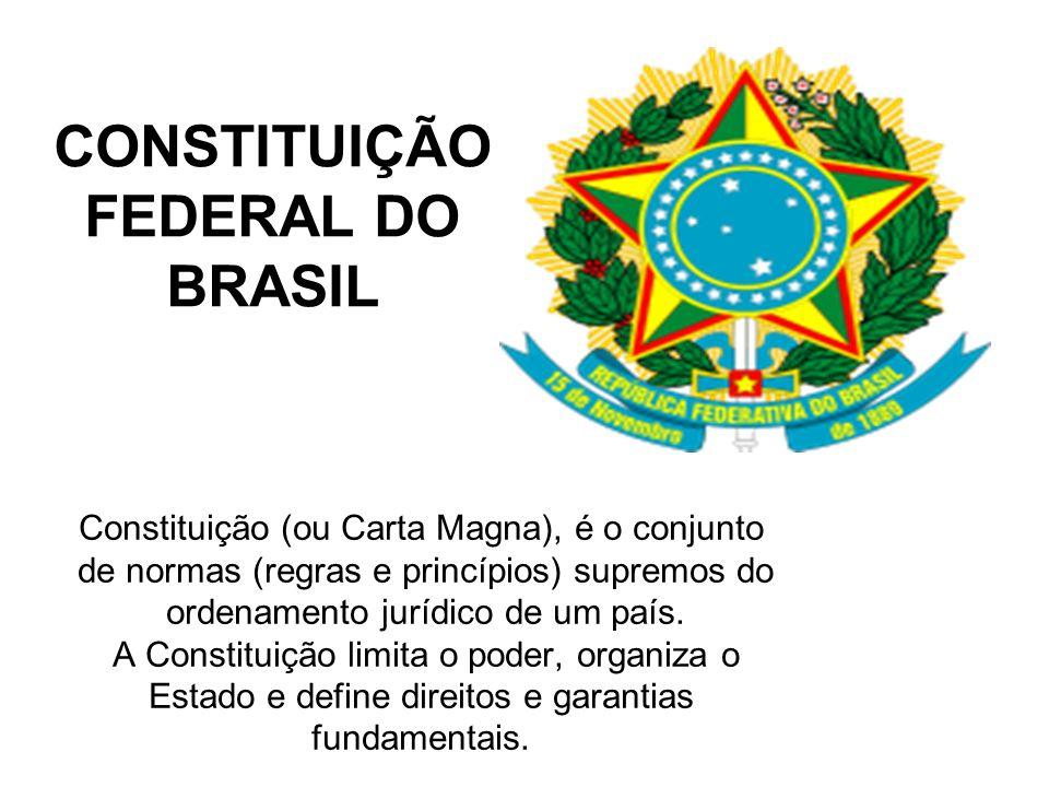CONSTITUIÇÃO FEDERAL DO BRASIL Constituição (ou Carta Magna), é o conjunto de normas (regras e princípios) supremos do ordenamento jurídico de um país