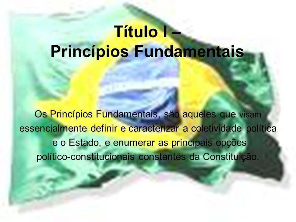 Título I – Princípios Fundamentais Os Princípios Fundamentais, são aqueles que visam essencialmente definir e caracterizar a coletividade política e o