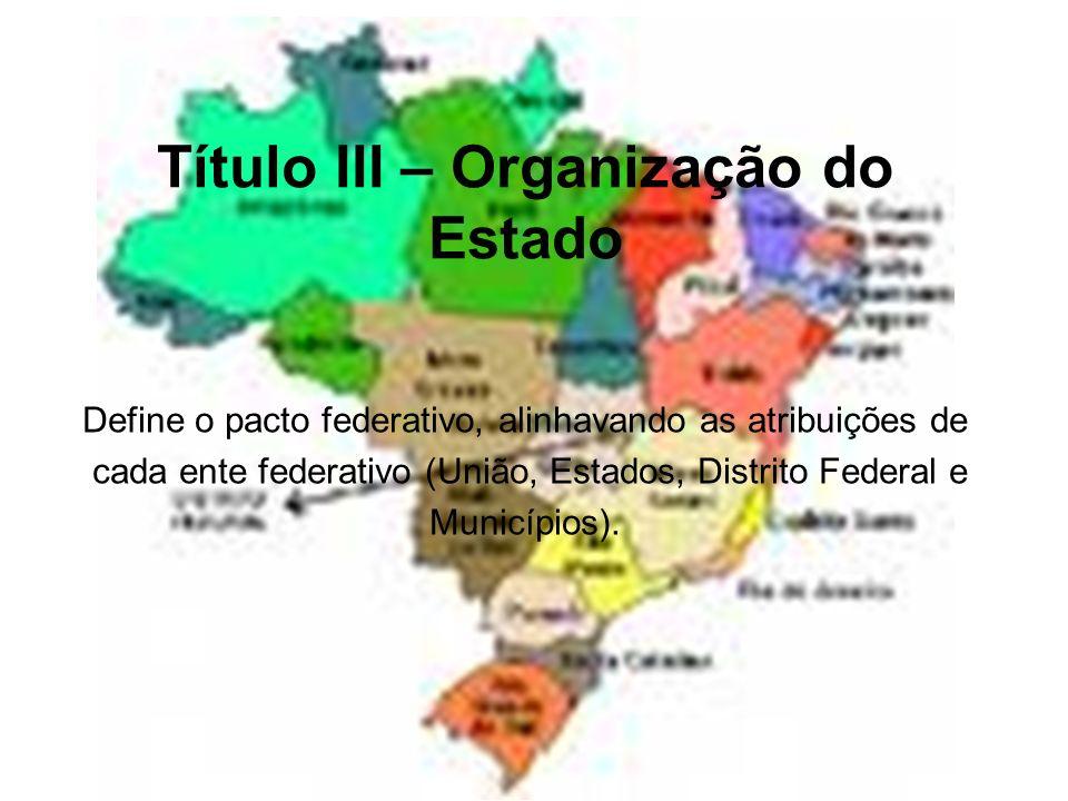 Título III – Organização do Estado Define o pacto federativo, alinhavando as atribuições de cada ente federativo (União, Estados, Distrito Federal e M