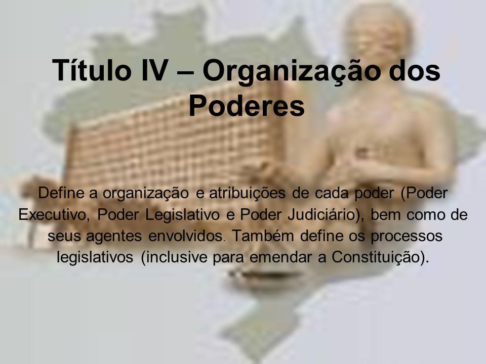 Título IV – Organização dos Poderes Define a organização e atribuições de cada poder (Poder Executivo, Poder Legislativo e Poder Judiciário), bem como