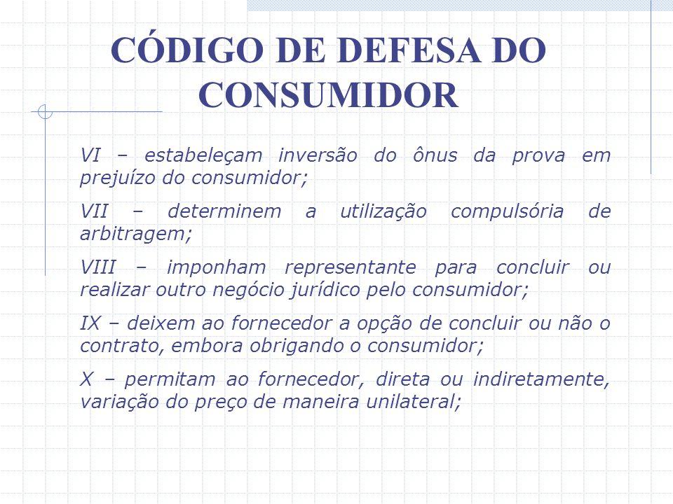 CÓDIGO DE DEFESA DO CONSUMIDOR II – subtraiam ao consumidor a opção de reembolso da quantia já paga, nos casos previstos neste código; III – transfira