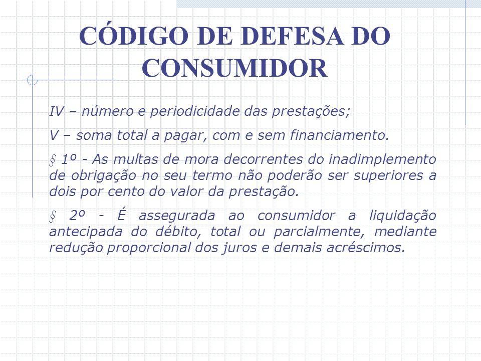 CÓDIGO DE DEFESA DO CONSUMIDOR Merece ainda destaque o disposto no art. 52, §§ 1º e 2º: Art. 52 – No fornecimento de produtos ou serviços que envolva