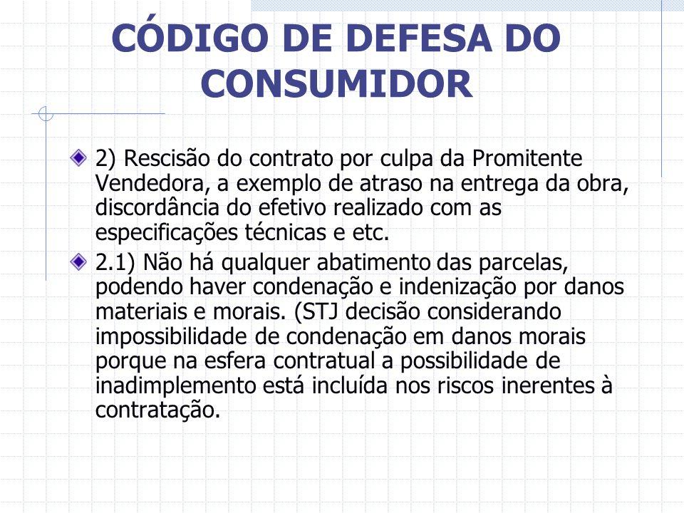 CÓDIGO DE DEFESA DO CONSUMIDOR CASOS CONCRETOS Entendimento dos Juizados de Defesa do Consumidor e das Varas Especializadas: 1) Rescisão de contrato p