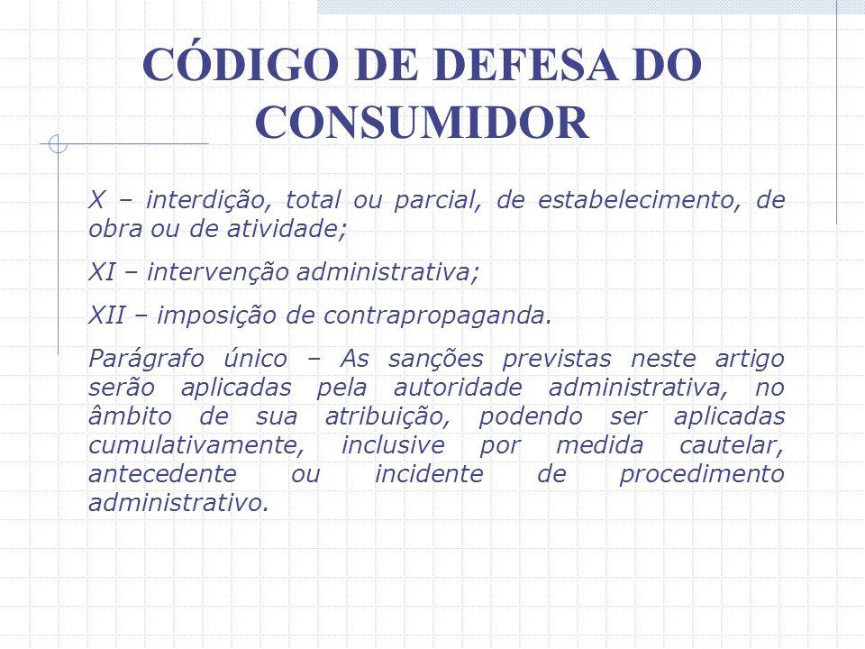 CÓDIGO DE DEFESA DO CONSUMIDOR IV – cassação do registro do produto junto ao órgão competente; V – proibição de fabricação do produto; VI – suspensão
