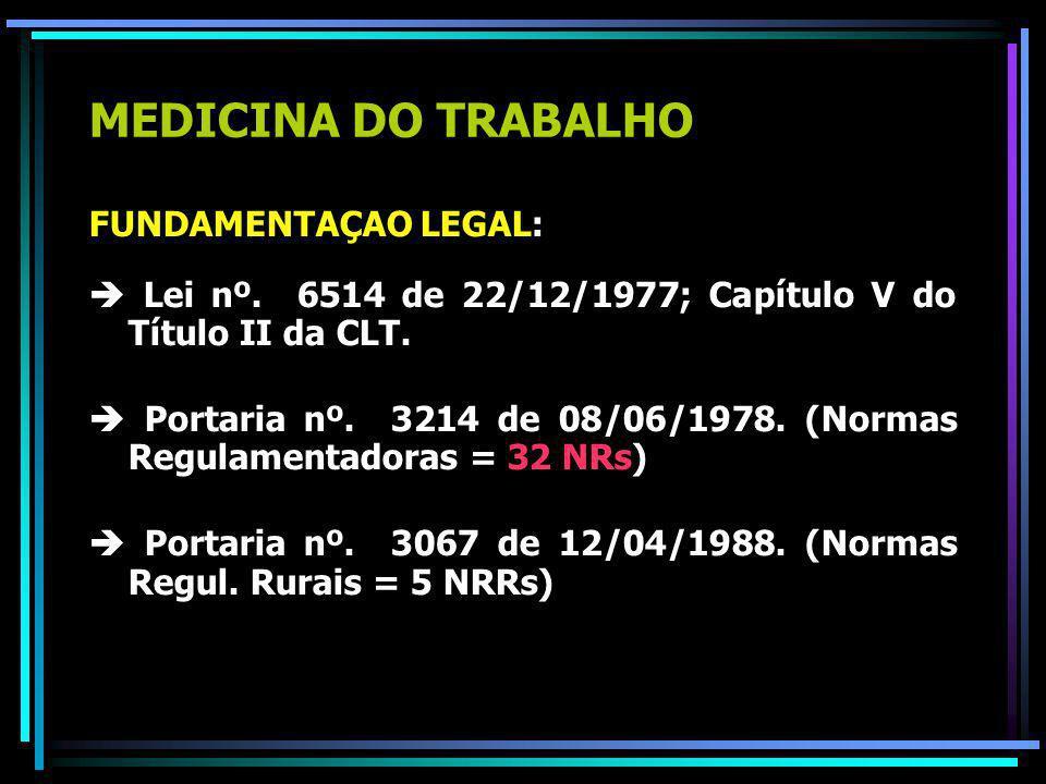 MEDICINA DO TRABALHO FUNDAMENTAÇAO LEGAL: Lei nº.