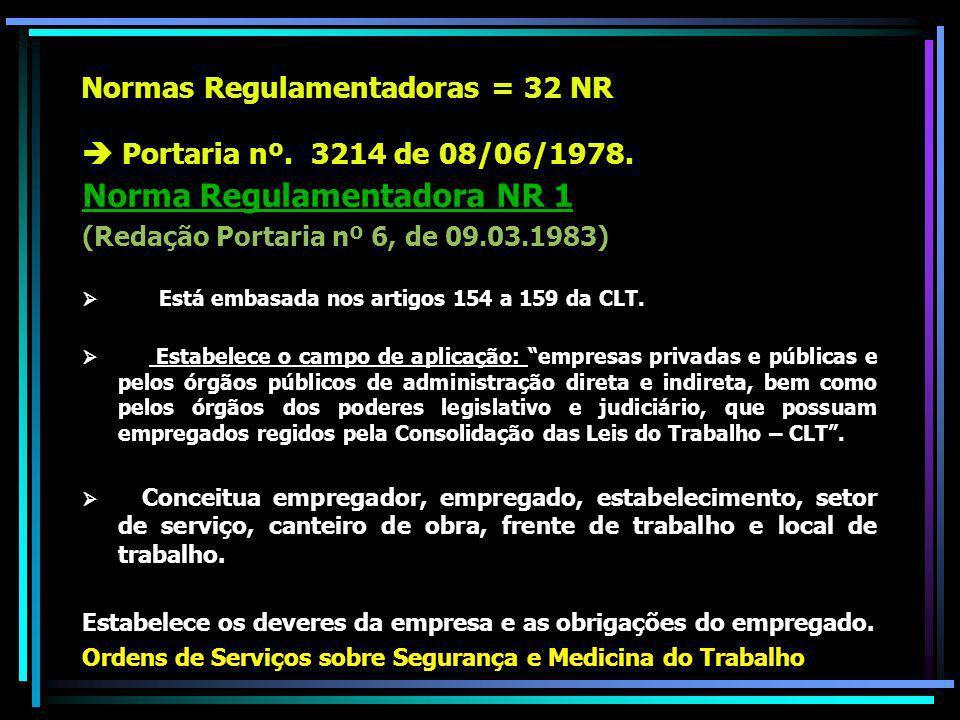 Normas Regulamentadoras = 32 NR Portaria nº.3214 de 08/06/1978.