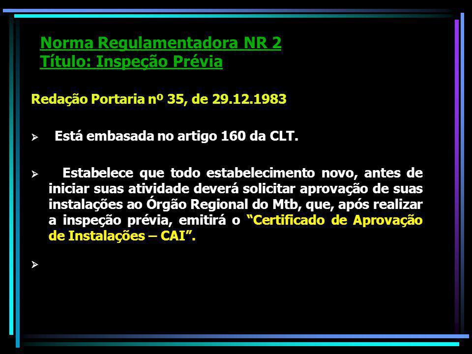 Norma Regulamentadora NR 2 Título: Inspeção Prévia Redação Portaria nº 35, de 29.12.1983 Está embasada no artigo 160 da CLT.