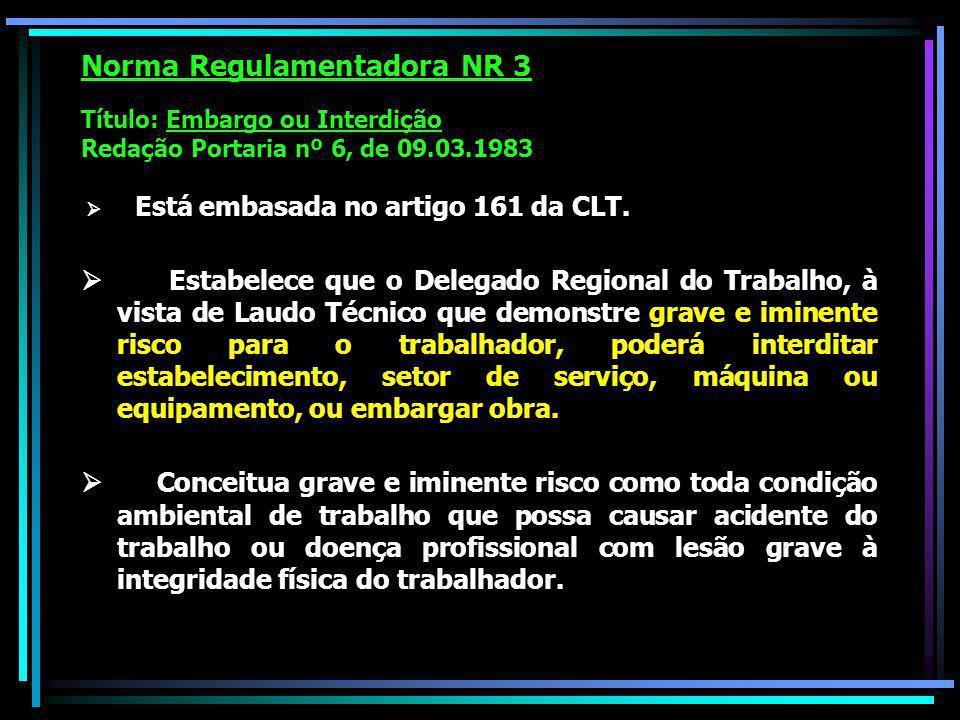 Norma Regulamentadora NR 3 Título: Embargo ou Interdição Redação Portaria nº 6, de 09.03.1983 Está embasada no artigo 161 da CLT.