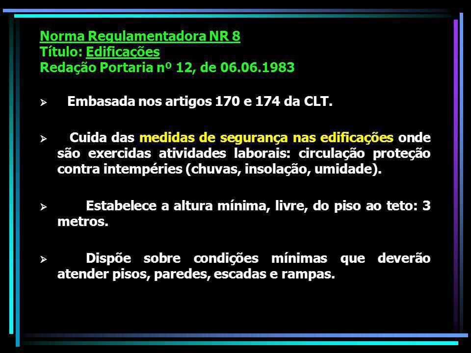 Norma Regulamentadora NR 8 Título: Edificações Redação Portaria nº 12, de 06.06.1983 Embasada nos artigos 170 e 174 da CLT.