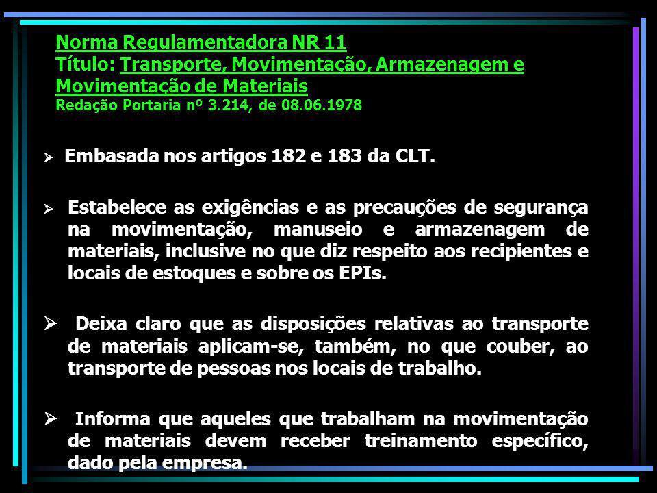 Norma Regulamentadora NR 11 Título: Transporte, Movimentação, Armazenagem e Movimentação de Materiais Redação Portaria nº 3.214, de 08.06.1978 Embasada nos artigos 182 e 183 da CLT.
