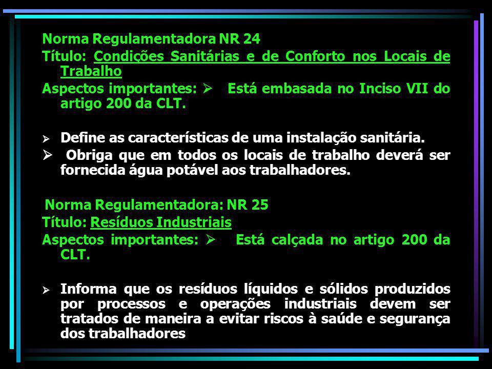 Norma Regulamentadora NR 24 Título: Condições Sanitárias e de Conforto nos Locais de Trabalho Aspectos importantes: Está embasada no Inciso VII do artigo 200 da CLT.