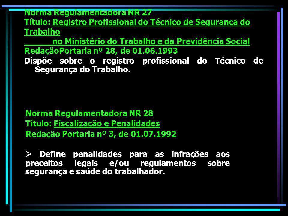 Norma Regulamentadora NR 27 Título: Registro Profissional do Técnico de Segurança do Trabalho no Ministério do Trabalho e da Previdência Social RedaçãoPortaria nº 28, de 01.06.1993 Dispõe sobre o registro profissional do Técnico de Segurança do Trabalho.