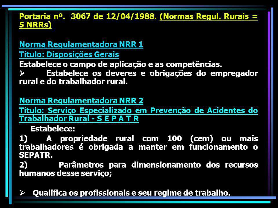 Portaria nº.3067 de 12/04/1988. (Normas Regul.