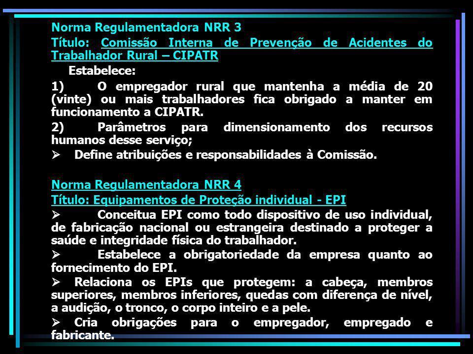 Norma Regulamentadora NRR 3 Título: Comissão Interna de Prevenção de Acidentes do Trabalhador Rural – CIPATR Estabelece: 1) O empregador rural que mantenha a média de 20 (vinte) ou mais trabalhadores fica obrigado a manter em funcionamento a CIPATR.