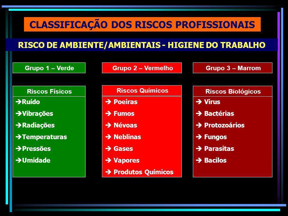 RISCO DE AMBIENTE/AMBIENTAIS - HIGIENE DO TRABALHO CLASSIFICAÇÃO DOS RISCOS PROFISSIONAIS Grupo 1 – Verde Riscos Físicos Ruído Vibrações Radiações Temperaturas Pressões Umidade Grupo 2 – Vermelho Riscos Químicos Poeiras Fumos Névoas Neblinas Gases Vapores Produtos Químicos Grupo 3 – Marrom Riscos Biológicos Virus Bactérias Protozoários Fungos Parasitas Bacilos