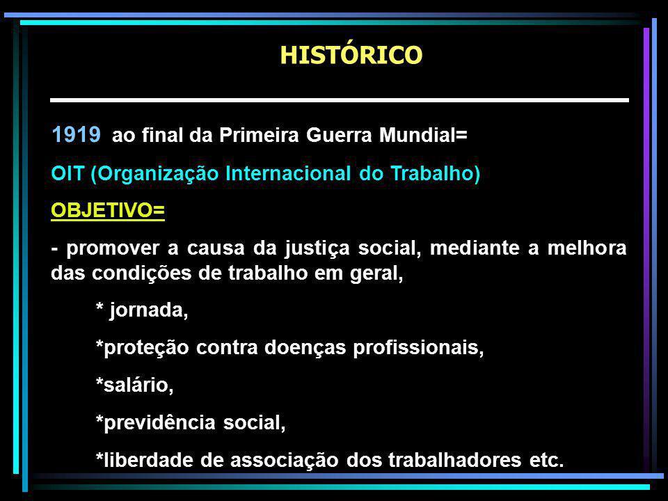 1919 ao final da Primeira Guerra Mundial= OIT (Organização Internacional do Trabalho) OBJETIVO= - promover a causa da justiça social, mediante a melhora das condições de trabalho em geral, * jornada, *proteção contra doenças profissionais, *salário, *previdência social, *liberdade de associação dos trabalhadores etc.