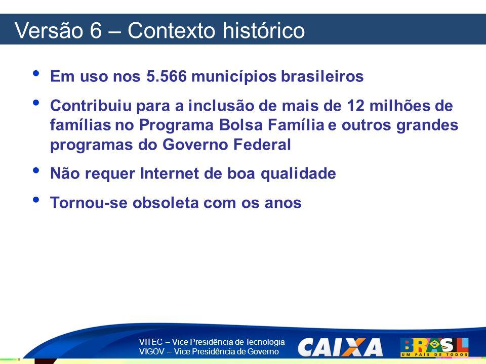 VITEC – Vice Presidência de Tecnologia VIGOV – Vice Presidência de Governo Versão 6 – Contexto histórico Em uso nos 5.566 municípios brasileiros Contr
