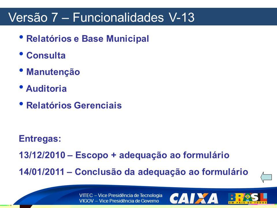 VITEC – Vice Presidência de Tecnologia VIGOV – Vice Presidência de Governo Versão 7 – Funcionalidades V-13 Relatórios e Base Municipal Consulta Manute