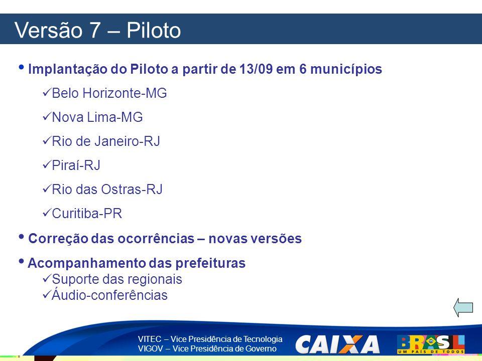VITEC – Vice Presidência de Tecnologia VIGOV – Vice Presidência de Governo Versão 7 – Piloto Implantação do Piloto a partir de 13/09 em 6 municípios B
