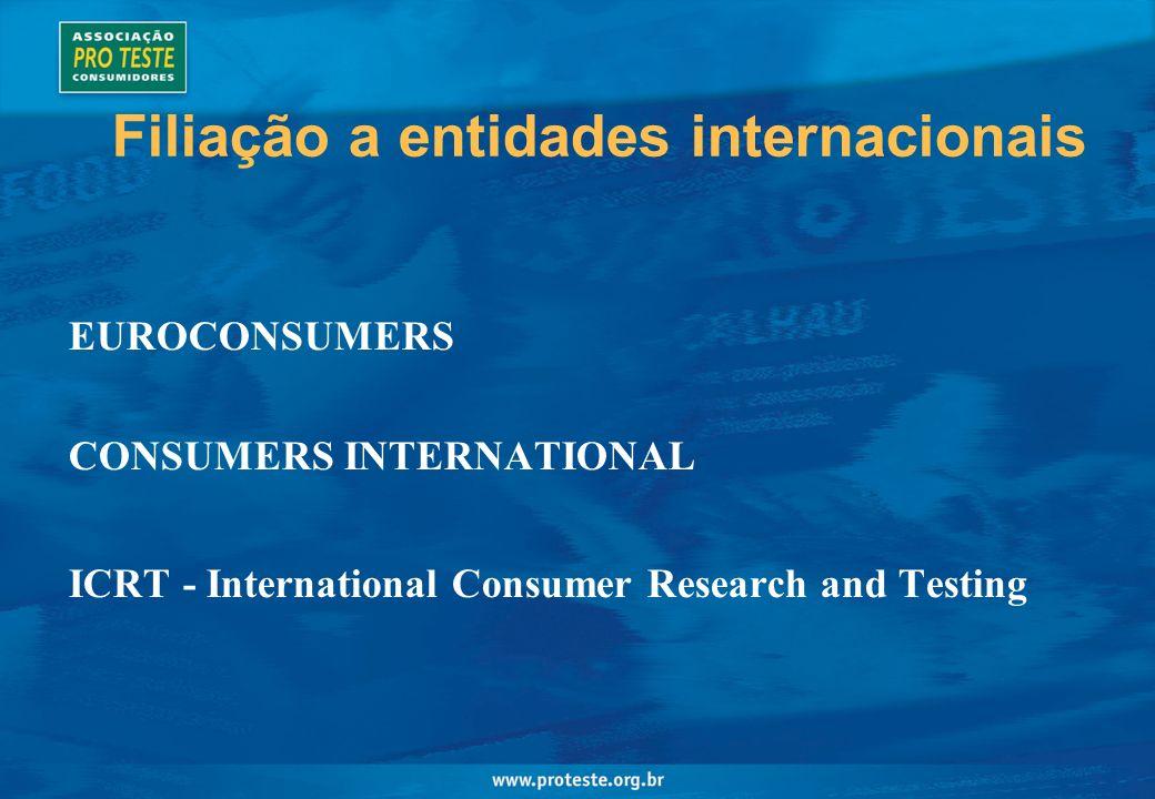 Filiação a entidades internacionais EUROCONSUMERS CONSUMERS INTERNATIONAL ICRT - International Consumer Research and Testing