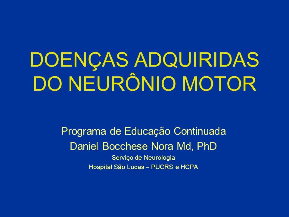 Esclerose Lateral Amiotrófica: Tratamento: - Informar diagnóstico e prognóstico; - Indicar tratamento específico; - Gastrostomia e nutrição; - Manejo da insuficiência respiratória; - Tratamento sintomático (sialorréia, espasticidade); - Exercício físico.