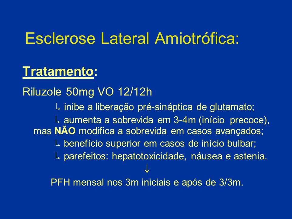 Esclerose Lateral Amiotrófica: Tratamento: Riluzole 50mg VO 12/12h inibe a liberação pré-sináptica de glutamato; aumenta a sobrevida em 3-4m (início p