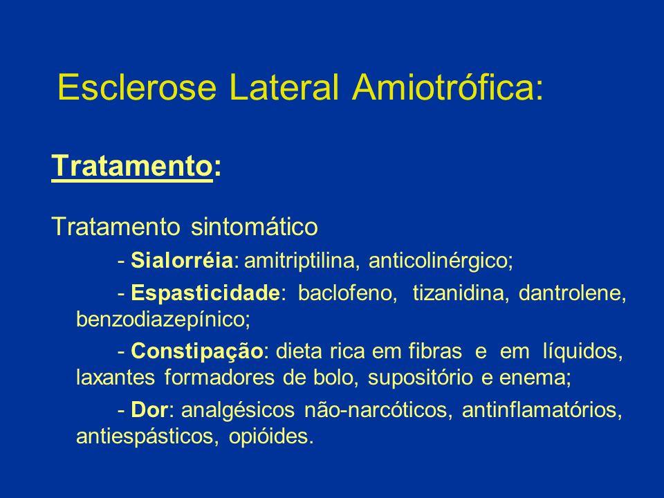 Esclerose Lateral Amiotrófica: Tratamento: Tratamento sintomático - Sialorréia: amitriptilina, anticolinérgico; - Espasticidade: baclofeno, tizanidina