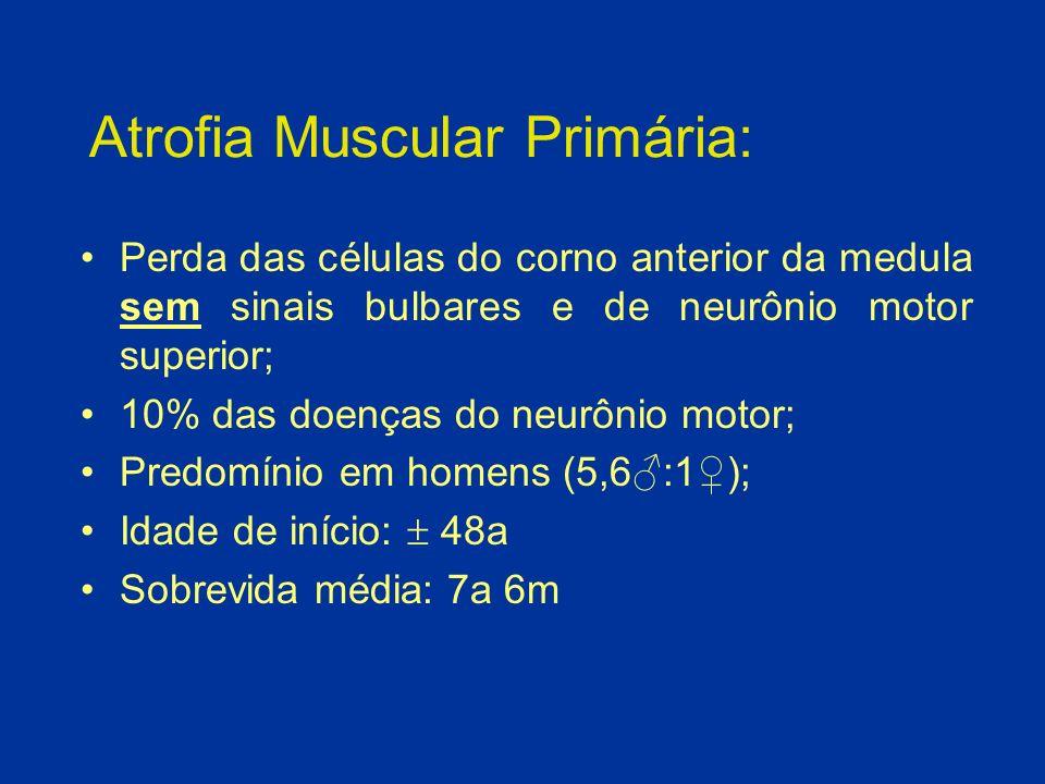 Paralisia Bulbar Progressiva: Degeneração preferencial dos núcleos motores bulbares sem envolvimento do corno anterior da medula e do neurônio motor superior de forma significativa; Pior prognóstico que ELA; 1-2% das doenças do neurônio motor; Predomínio em homens (3:1); Acomete pacientes mais idosos; Sobrevida média: 1a 6m-2a.