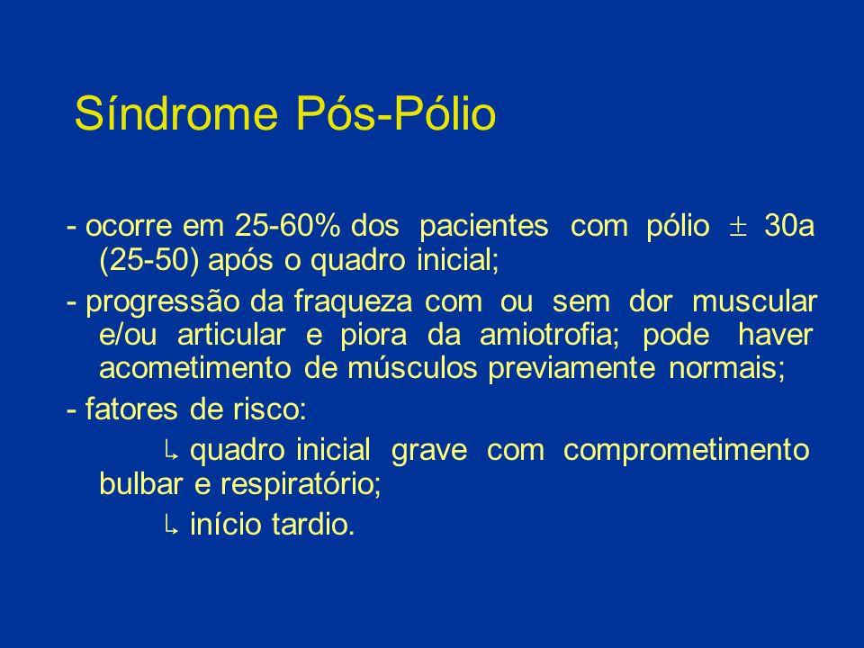 Síndrome Pós-Pólio - ocorre em 25-60% dos pacientes com pólio 30a (25-50) após o quadro inicial; - progressão da fraqueza com ou sem dor muscular e/ou