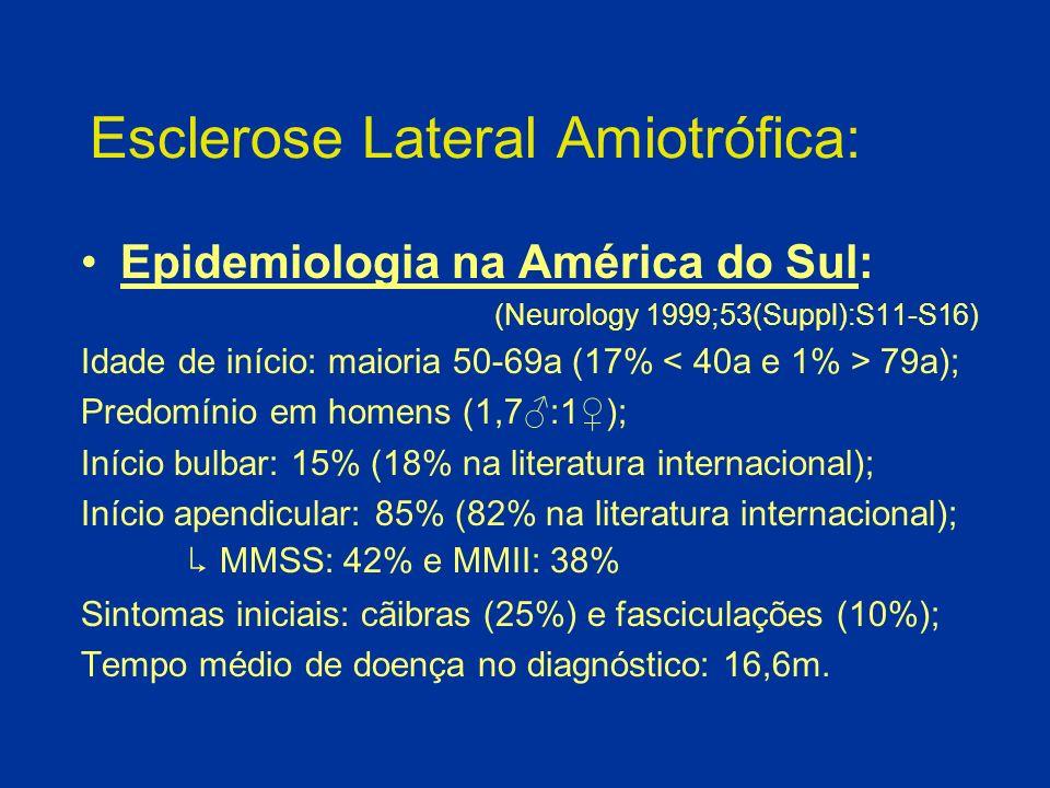 Esclerose Lateral Amiotrófica: Adquirida: predomínio em homens (3:2); Familiar: sem predomínio de gênero (1:1); 5-10% dos casos; em 25%, se identifica mutações do gene SOD1 (Cu-Zn superóxido dismutase) do cromossomo 21; Juvenil: muito raro; AR (2q33-35 e 15q15-q22) ou esporádico (raro); início: 12a (3-25a); clinicamente idêntica com progressão muito lenta.