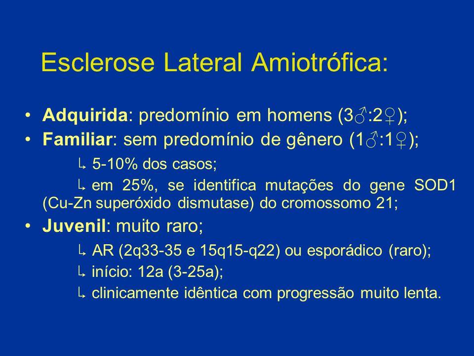 Esclerose Lateral Amiotrófica: Clínica: - Neurônio Motor Inferior: fraqueza, fasciculações, atrofia muscular e cãibras; - Neurônio Motor Superior: espasticidade, clônus, hiperreflexia, fraqueza, sinal de Babinski, marcha em tesoura ou ceifante; - Núcleos Bulbares: disfagia, atrofia e fasciculações da língua, disartria, motricidade ocular extrínsica normal.